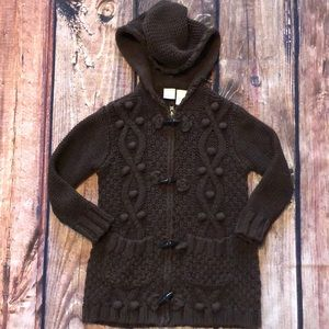 Cable knit brown sweater w hood and zipper EUC